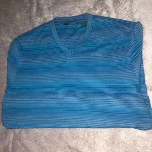 Blue Perry Ellis V Neck Short Sleeve Shirt